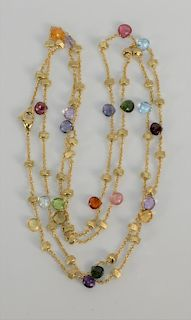 """18 karat gold necklace by Marco Bicego """"Mini Lollipop"""" of sapphires and round gold barrels on chain, six colors. 19.9 grams total we..."""
