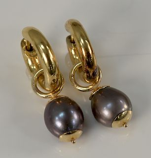 18 karat gold and Mabe pearl earrings having circles and drop pearls, marked: 750. 9.2 grams total weight