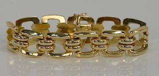 14 karat gold bracelet with square links. length 7 inches, width 5/8 inch, 27.2 grams