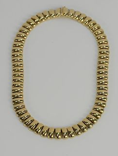 14 karat gold necklace with domed rectangular links. length 16 inches, width 1/2 inch, 66.9 grams