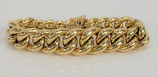 14 karat gold bracelet with large graduated links.  length 7 1/8 inches, 30.5 grams