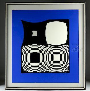 Framed Signed Vasarely Optical Art Serigraph - 1960s