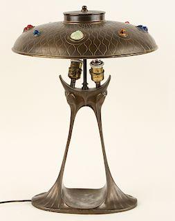 AUSTRIAN BRONZE TABLE LAMP DOLPHIN BASE C.1900