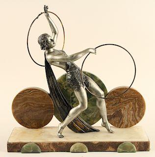 SIGNED ART DECO SPELTER FIGURE ONYX BASE 1920