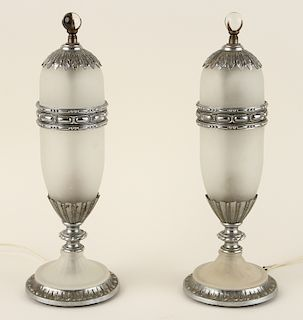 PAIR FRENCH ART DECO FROSTED GLASS TABLE LAMPS