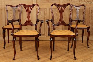 FOUR SIGNED THONET ART NOUVEAU DINING CHAIRS