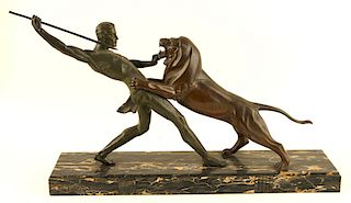 SIGNED LIMOUSIN HUNTER + LION BRONZE ON ONYX BASE