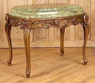 BRONZE ART DECO TABLE GREEN ONYX TOP CIRCA 1920