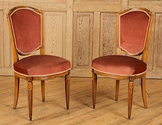 PAIR ART DECO UPHOLSTERED WALNUT SIDE CHAIRS