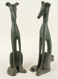 PAIR ART DECO PAINTED SEATED DOGS 1930