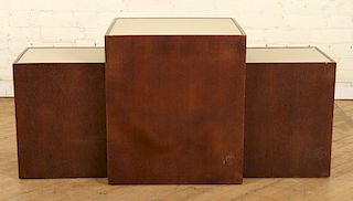 A LOT OF 3 FAUX SHAGREEN SIDE TABLES