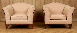 PAIR ART DECO UPHOLSTERED ARM CHAIRS UPHOLSTERED
