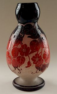 A MARKED DEGUE ACID ETCHED CAMEO VASE