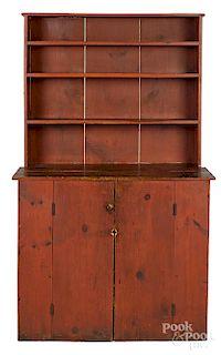 Painted pine stepback cupboard