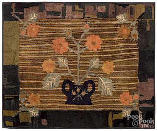 American hooked rug with basket of flowers