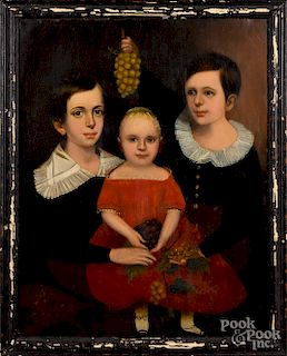 Oil on canvas folk portrait of three children