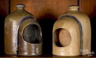 Two Pennsylvania stoneware feeders