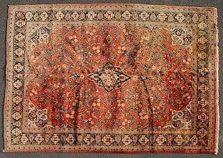A ROOM SIZE PERSIAN MASHED RUG