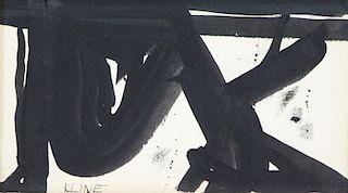 KLINE, Franz (attr.). Ink on Paper. Abstract.