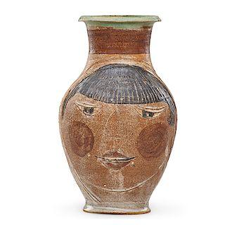 M. WILDENHAIN; POND FARM Vase with portrait