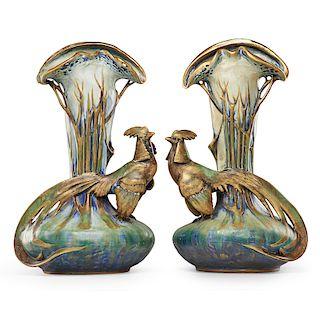 EDUARD STELLMACHER Two pheasant vases