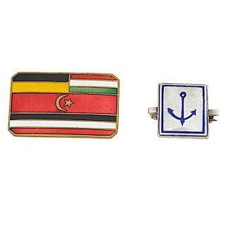 WIENER WERKSTATTE Flag and anchor pins