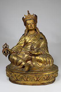 Large Tibetan Gilt Bronze Figure of Padmasambhava