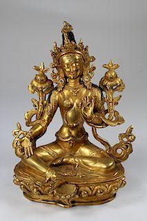 Tibetan Gilt Bronze Figure of White Tara, Qing