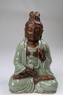 Chinese Longquan Glazed Guanyin Figure