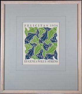 """MC Escher (1898 - 1972) """"Water"""" Woodcut"""