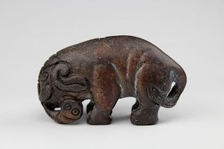 Antique Chinese Black, Brown & Green Jade Elephant