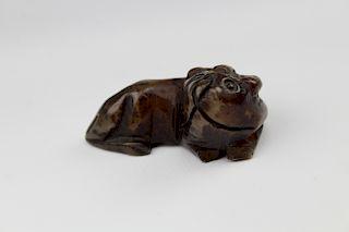 Chinese Carved Black & Green Nephrite Horned Dog