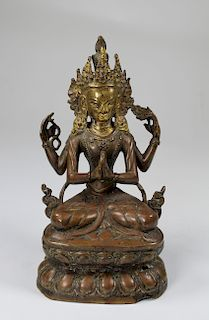 Ming, Tibetan Bronze Seated Avalokitesvara