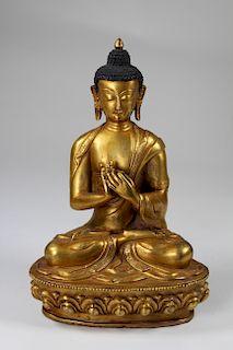 Sino-Tibetan Gilt Bronze Vairochana Buddha