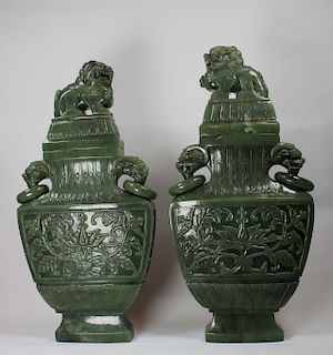 Pair of Large 'Spinach' Jade Covered Vases