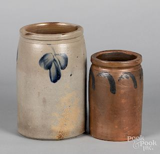 Two Pennsylvania or Maryland stoneware crocks