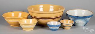 Yellowware and stoneware mixing bowls
