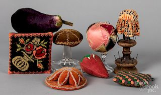 Antique pin cushions and small pillows