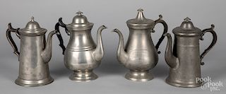 Four American pewter coffee pots