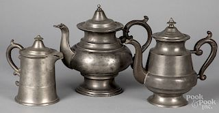 Middletown, Connecticut pewter teapot and syrup