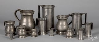 Two sets of graduated pewter measures