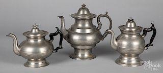 Three American pewter teapots
