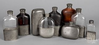 Collection of pewter flasks