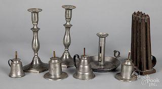 Four pewter oil lamps, etc.