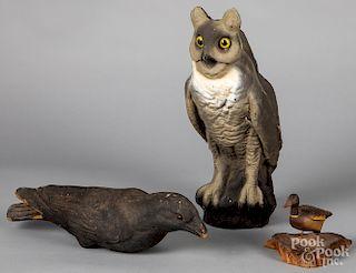 Papier-mâché owl and crow decoy, etc.