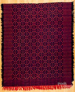 Red and blue coverlet