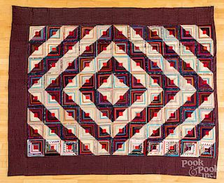 Two log cabin quilts
