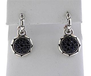 John Hardy Kali Batu Sterling Black Stone Drop Earrings