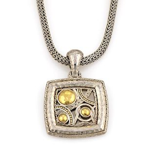 John Hardy Palu Bulan Sterling Silver & 22K Yellow Gold Pendant Necklace