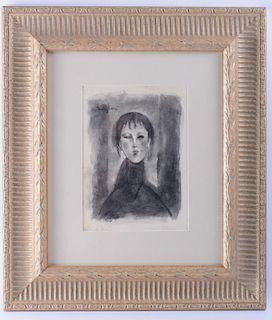 Amedeo Modigliani Attributed Portrait Watercolor